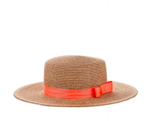 Structured Sun Hat with Ribbon in Rose Gold