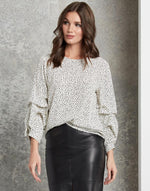 Load image into Gallery viewer, Long Sleeve Ruched Shirt in Black Print