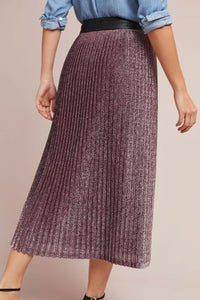 Metallic Champagne Pleated Skirt in Pink