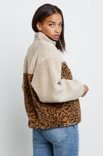 Load image into Gallery viewer, Saga Fleece Jacket in Cream Leopard Mix