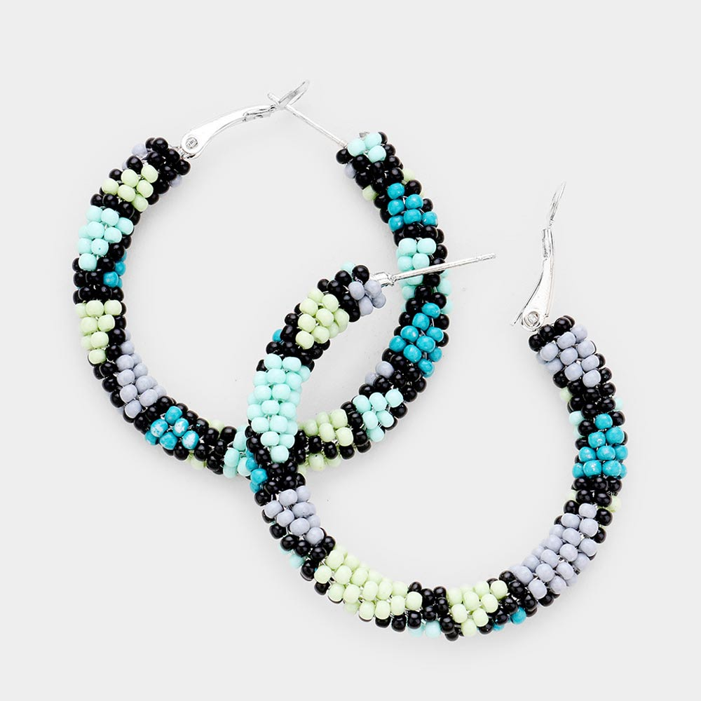Beaded Hoops in Turquoise Multi