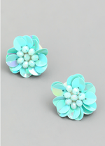 Load image into Gallery viewer, Sequin Flower Stud Earring in Light Blue