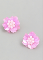 Load image into Gallery viewer, Sequin Flower Stud Earring in Light Pink