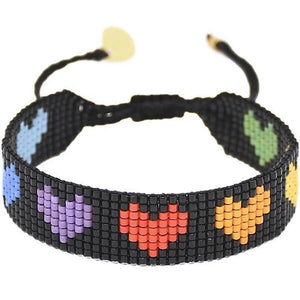 Rainbow Heart Bracelet in Black