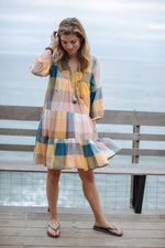 Load image into Gallery viewer, Short Indira Dress in Multi Gingham