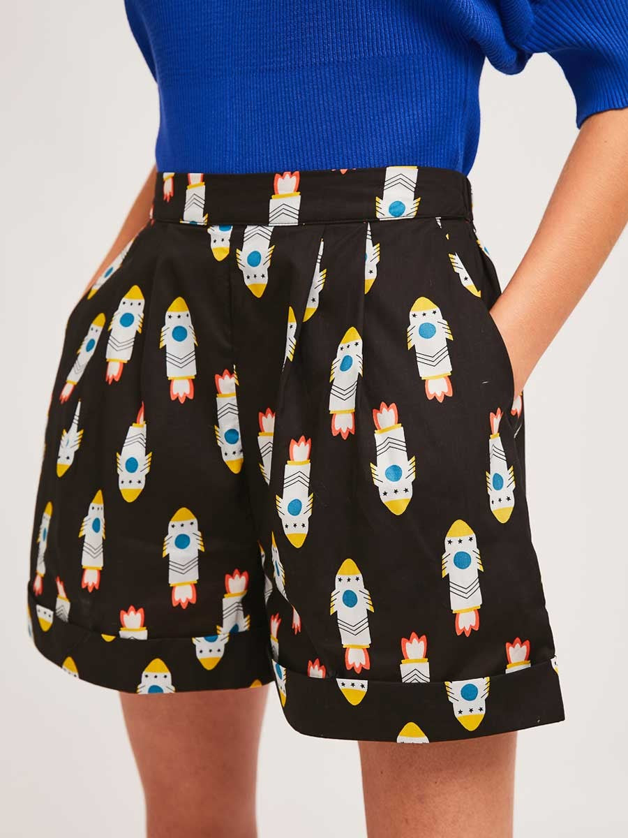 High Waisted Shorts in Rocket Print