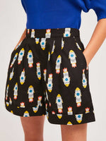Load image into Gallery viewer, High Waisted Shorts in Rocket Print