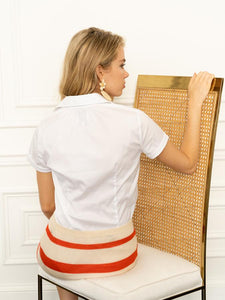 The Short Sleeve Shirt with Loose Back in White