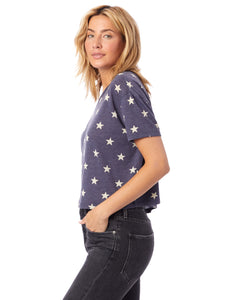 Headliner Cropped T-Shirt in Navy Star