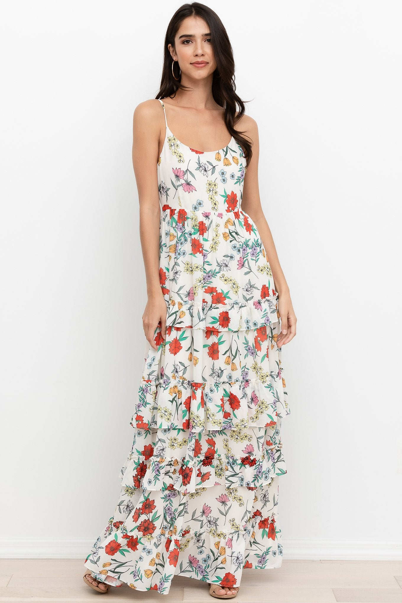 St. Martin Maxi Dress in Garden At Dawn Ivory