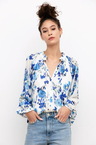 Ruffle Collar Blouse in Blue Floral