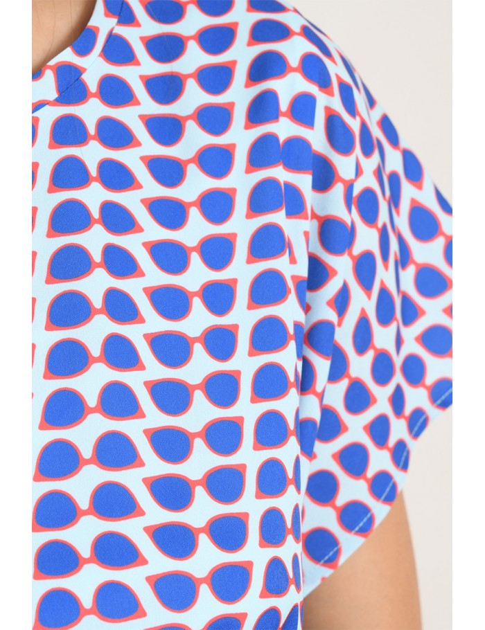 Short Sleeve Sunglasses Print Dress in Blue