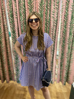 Load image into Gallery viewer, Short Sleeve Sunglasses Print Dress in Blue