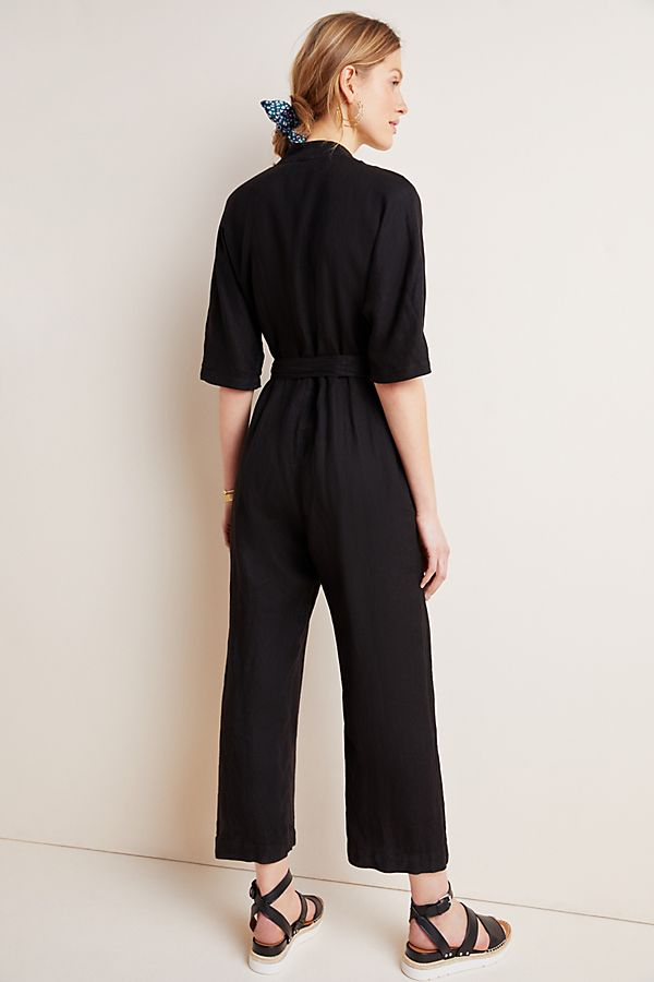 Tamra Linen Jumpsuit in Black