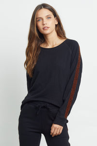 Theo Sweatshirt in Black Velvet Leopard