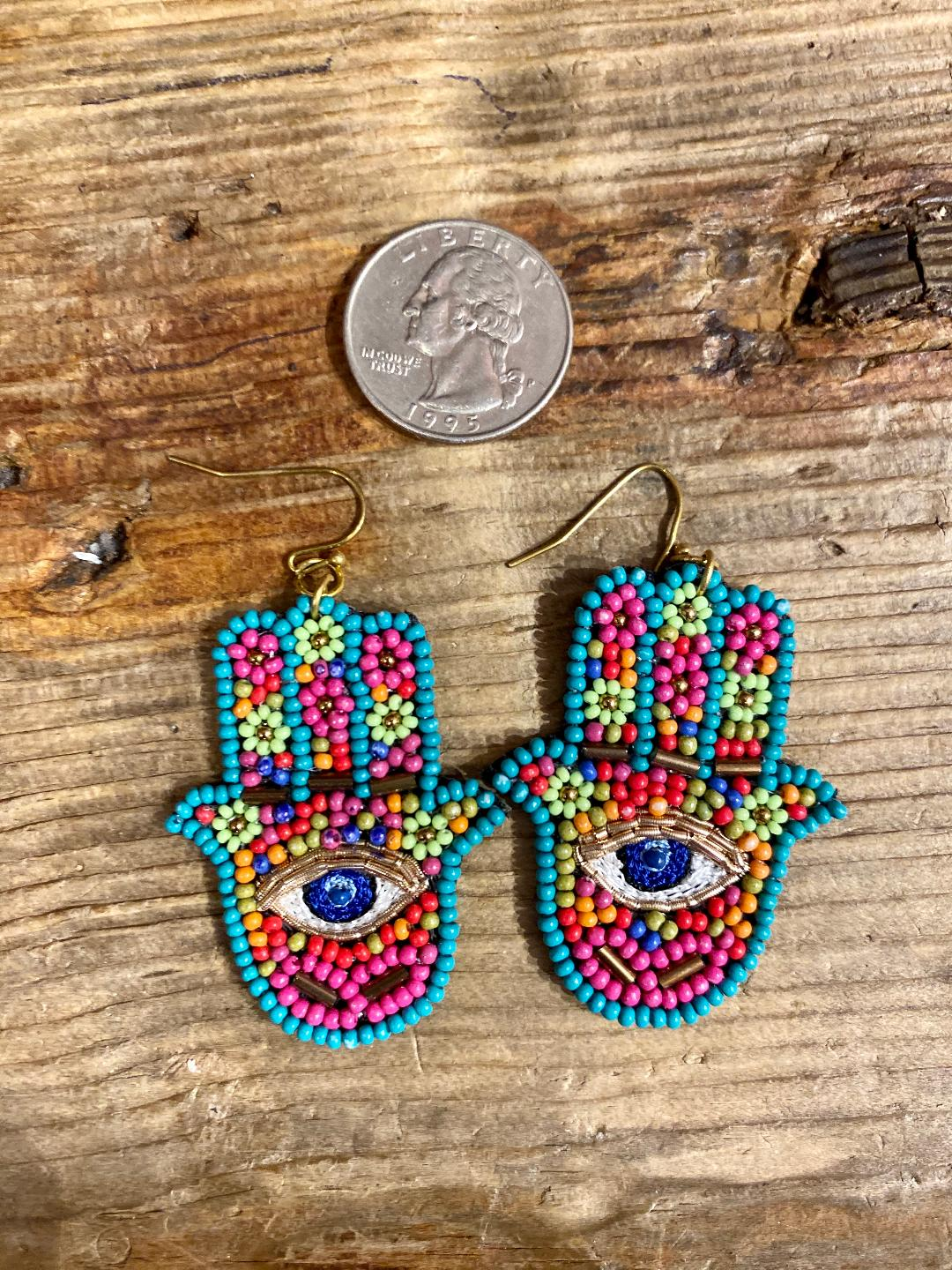 Beaded Hamsa Earrings in Turquoise Combo