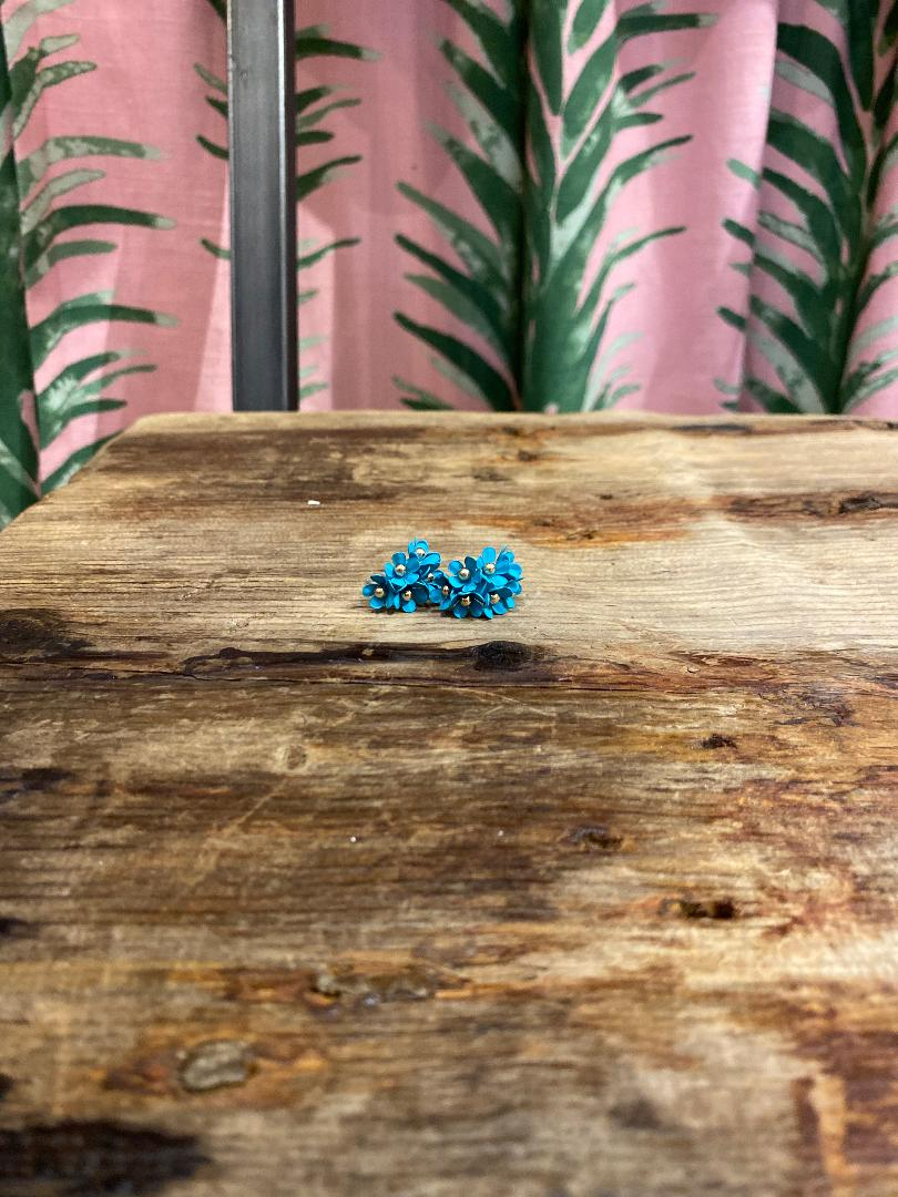 Small Cascading Floral Mini Earring in Aqua