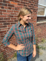 Load image into Gallery viewer, Icon Shirt in Green Orange Plaid