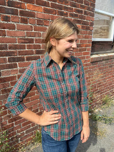 Icon Shirt in Green Orange Plaid