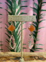 Load image into Gallery viewer, Crystal Dangle Earring in Orange Combo