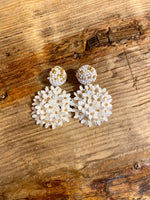 Load image into Gallery viewer, Sequin Blossom Earring in White Combo