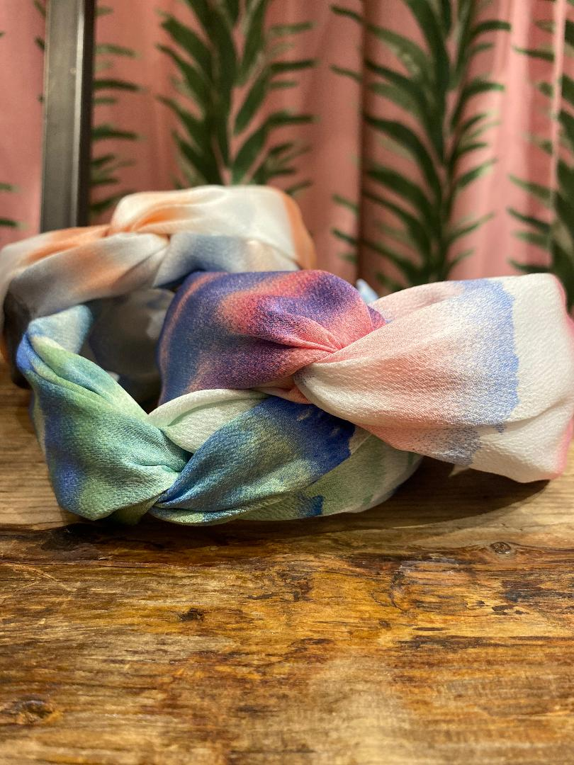 Watercolor Crossover Headband in Blush Combo