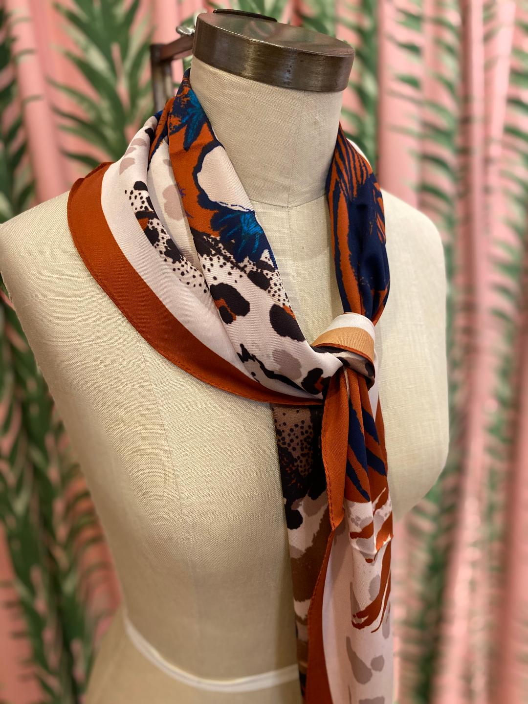 Safari Animal Scarf in Brown Combo
