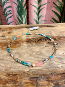 Gemstone Choker Necklace in Coral/Turquoise Multi