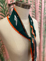 Load image into Gallery viewer, Pleated Running With the Bulls Print Scarf in Dark Green Combo