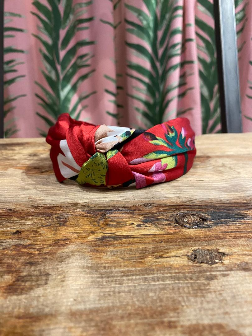 Silk Floral Headband in Dark Red