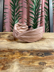 Wide Faux Leather Headband in Pink