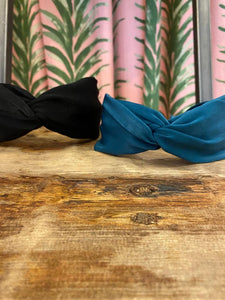 Solid Silk Knotted Headband in Teal