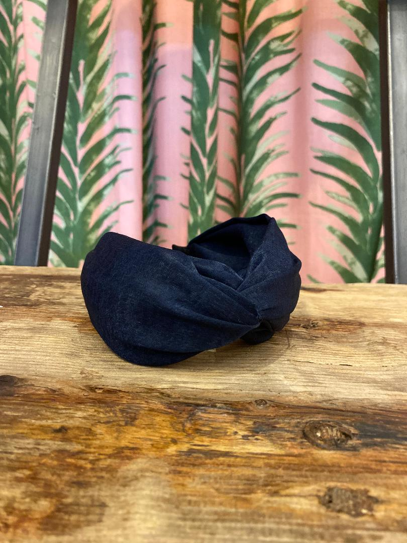 Solid Silk Knotted Headband in Navy