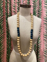 Load image into Gallery viewer, Natural Wood and Teal Glass Necklace