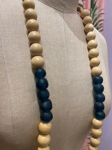 Natural Wood and Teal Glass Necklace