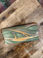 Load image into Gallery viewer, Marbled Leather Wallet in Green Combo