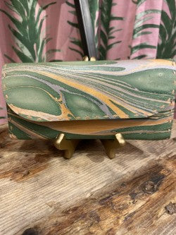 Marbled Leather Wallet in Green Combo