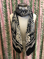 Load image into Gallery viewer, Abstract Monstera Leaf Print Scarf in Black Combo