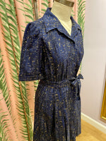 Load image into Gallery viewer, Willa Dress in Navy Metallic Cork Print
