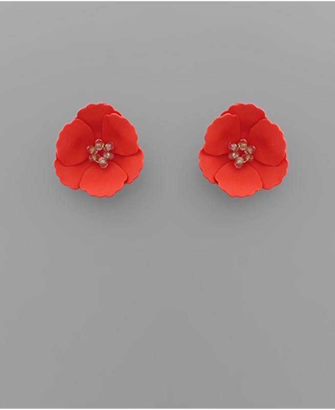 Small Flower Stud with Beaded Center in Red