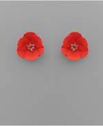 Load image into Gallery viewer, Small Flower Stud with Beaded Center in Red