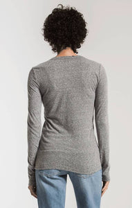 Tri Blend Long Sleeve Tee in Heather Grey