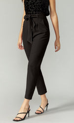 Load image into Gallery viewer, Top Stitch Belted Trouser in Black