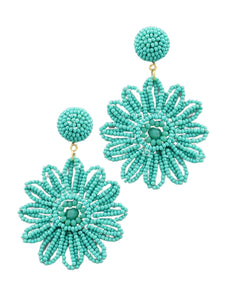 Beaded Daisy Earring in Turquoise
