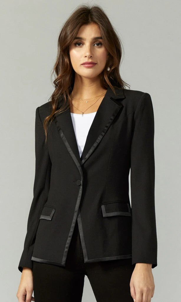Sateen Trim Tux Blazer in Black