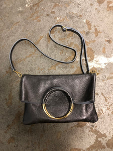 Twiggy Italian Leather Cross Body Bag in Anthracite