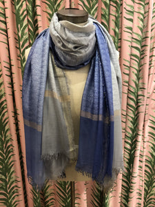 Two Tone Ombre Lurex Scarf in Blue Combo