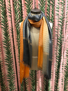 Two Tone Ombre Lurex Scarf in Orange Combo