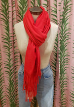 Load image into Gallery viewer, Soft Basic Cashmere Blend Scarf in Scarlet
