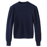 Load image into Gallery viewer, Puff Sleeve Mock Neck Sweater in True Navy